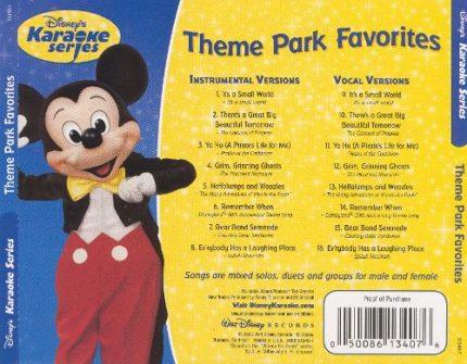 Disney's Series - Theme Park Favorites - Karaoke Playbacks - Rueckseite