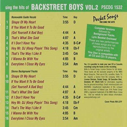 Backstreet Boys Party Vol.2 - Karaoke Playbacks - PSCDG 1532 - Rueckseite